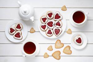 Обои Печенье День всех влюблённых Чай Сердечко Чашка Доски Еда