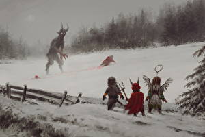 Картинки Демоны Зимние Санта-Клаус Кровь Фэнтези