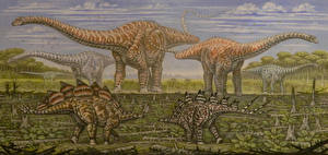 Фотография Динозавры Древние животные Рисованные Apatosaurus, Stegosaurus Животные
