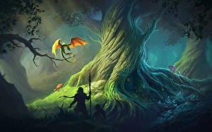 Обои Дракон Воины Копья Деревья Фантастика