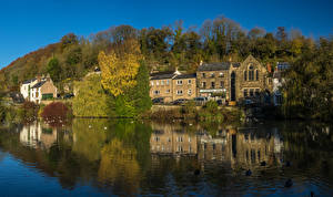 Фотография Англия Дома Реки Cromford Derbyshire город