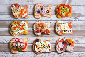 Фотографии Фастфуд Бутерброды Хлеб Ветчина Овощи Доски Яйца