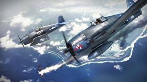 Картинки Самолеты Истребители Рисованные Американские Grumman F6F Hellcat
