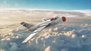Фотографии Самолеты Истребители War Thunder Российские Облака La-15 Игры