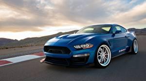 Фотографии Ford Синие Shelby 1000 2018 Mustang Автомобили