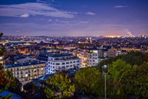 Картинки Франция Дома Париж Мегаполис Ночные Уличные фонари