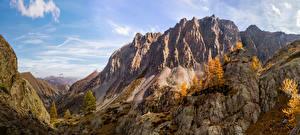 Обои Франция Горы Парки Осенние Альпы Mercantour National Park