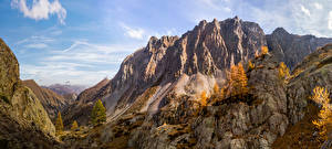 Обои Франция Гора Парки Осенние Альп Mercantour National Park Природа