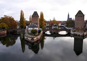 Фотография Франция Страсбург Реки Мосты Дома Ponts couverts