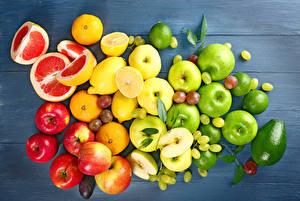 Картинки Фрукты Лимоны Яблоки Авокадо Виноград Грейпфрут Доски Пища