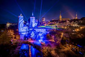 Картинки Германия Крепость Дома Ночные Лучи света Bautzen Saxony