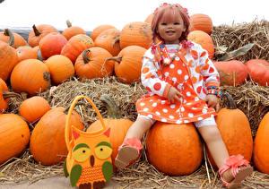 Фото Германия Парки Осенние Тыква Сумка Девочки Кукла Grugapark Essen Природа