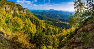 Обои Германия Парки Осенние Пейзаж Леса Холмы Saxon Switzerland National Park