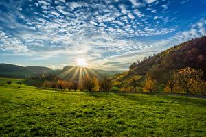 Фото Германия Пейзаж Рассветы и закаты Небо Осень Облачно Солнце Деревья Трава Olsberg Природа