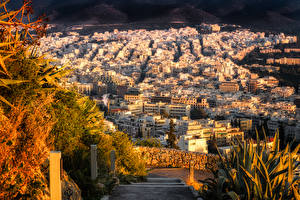 Обои Греция Дома Осень Athens