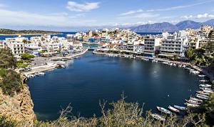 Фотографии Греция Здания Пирсы Лодки Залив Ayios Nikolaos Crete