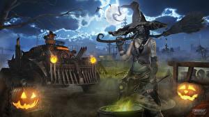 Картинки Хеллоуин Ведьма Crossout Шляпа Ночные Луна 3D_Графика Фэнтези