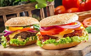 Обои Гамбургер Вблизи Быстрое питание Овощи 2