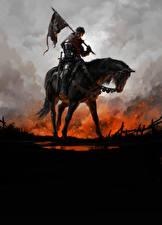 Картинки Лошади Воины Kingdom Come: Deliverance Броня Флаг Фэнтези