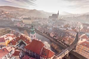 Фото Здания Мосты Речка Чехия Утро Сверху Czech-Krumlov, Города