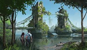 Обои для рабочего стола Иллюстрации к книгам Мост Англия Лондон Две Dies the Fire, S.M. Stirling Фантастика