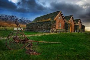 Фотографии Ирландия Здания Вечер Трава Icelandic Farms Города