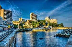 Фотография Япония Здания Речка Пирсы HDRI Wakayama Города