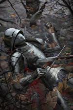 Фотография Рыцарь Доспехи Мертвец Меча Кровь Фэнтези