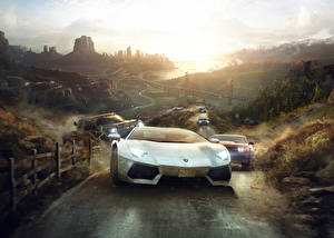 Фотография Lamborghini The Crew Ралли Спереди компьютерная игра Автомобили