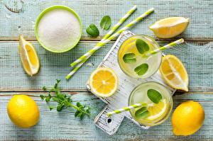 Картинки Лимоны Лимонад Листья Сахар Продукты питания