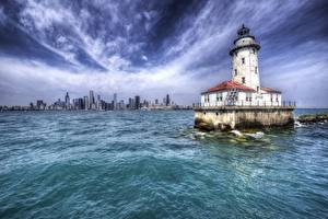 Картинка Маяк Штаты HDR Чикаго город Illinois, Harbor Lighthouse Города
