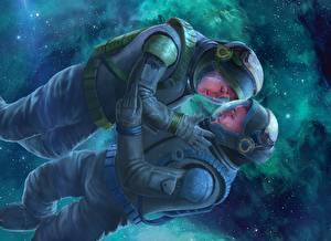 Картинка Любовь Космонавты Двое Alkion Book Cover Фантастика Космос