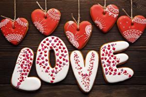 Картинка Любовь День всех влюблённых Печенье Слово - Надпись Английский Сердечко Пища