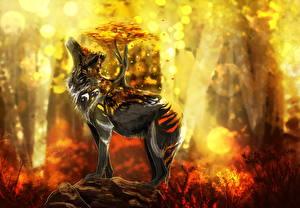 Картинки Волшебные животные Волки Фантастика