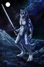 Фотография Волшебные животные Волки Воители Мечи Ночь Фэнтези