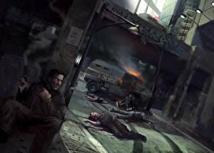 Фотография Мужчины Пистолеты Полицейские Мертвец Фантастика