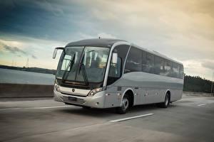 Обои Mercedes-Benz Автобус Серая Едет OF 1721 авто