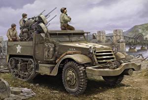 Фотография Боевая техника Рисованные Солдаты Американские M16 Multiple-Gun Motor Carriager