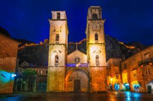 Картинки Черногория Храмы Церковь Здания Ночные Kotor Cathedral Города