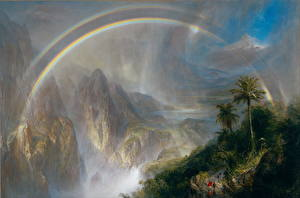 Картинка Горы Картина Радуга Frederic Edwin Church, Rainy Season in the Tropics Природа