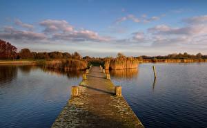 Фото Голландия Речка Мосты Осенние Небо Природа