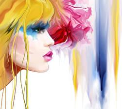 Картинка Рисованные Блондинка Лицо Сбоку Девушки