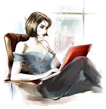 Картинка Рисованные Шатенка Ноутбуки Сидящие Девушки