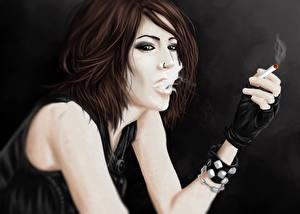 Фото Рисованные Сигаретой Шатенка молодые женщины
