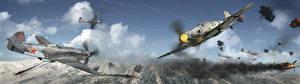 Фотографии Рисованные Истребители Российские Немецкий Yak-9u Vs Bf 109G 6 Авиация