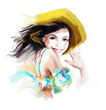 Обои Рисованные Улыбка Шляпы Белым фоном Брюнетки девушка