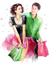 Фотография Рисованные Улыбка Двое Парни Белым фоном Покупки Счастливая молодая женщина