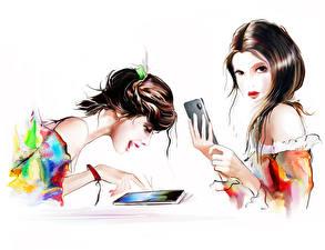Картинки Рисованные 2 Шатенка Смартфон Белом фоне Девушки