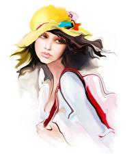 Картинка Рисованные Белый фон Шатенка Шляпе девушка