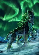 Фото Рисованные Волки Северное сияние